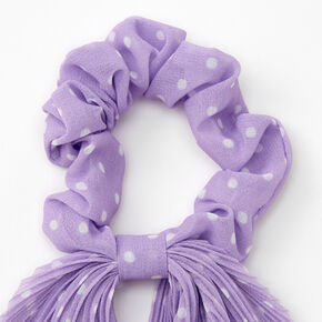 Small Polka Dot Pleated Scarf Hair Scrunchie - Lilac,