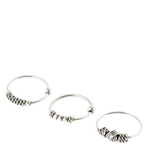 Sterling Silver 22G Coiled Bead Cartilage Hoop Earrings - 3 Pack,