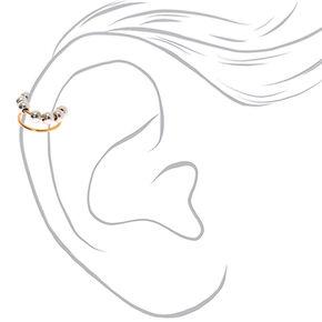 Manchette d'oreille perlée en métaux mixtes,