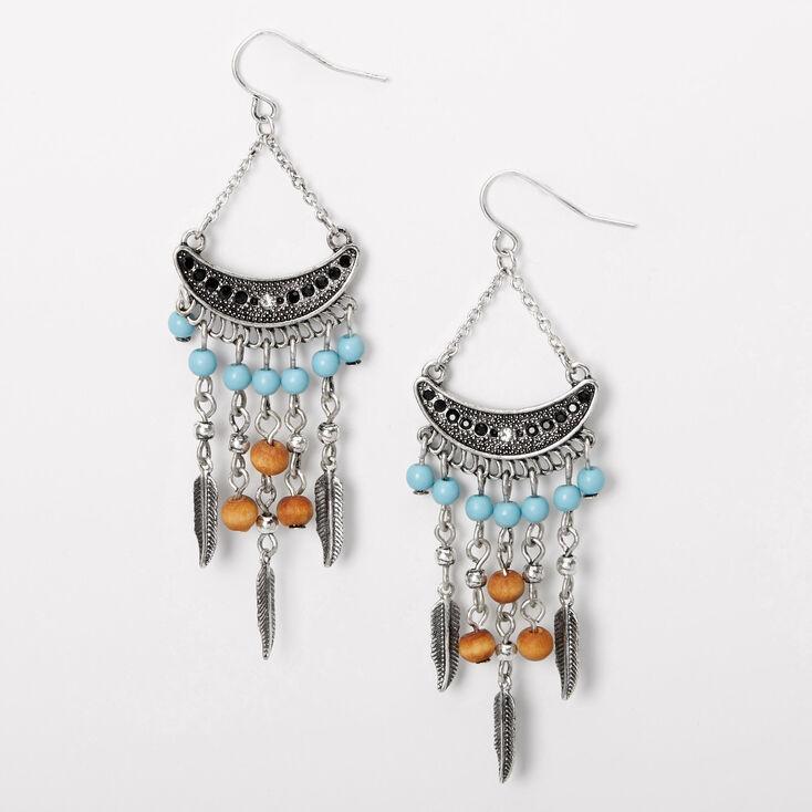 Boho silver and beaded chandelier earrings
