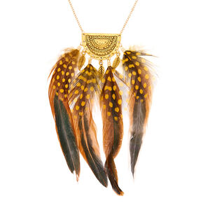 Gold Polka Dot Feather Long Pendant Necklace - Yellow,