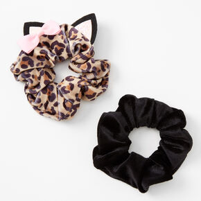 Claire's Club Small Leopard Ears Hair Scrunchies - 2 Pack,