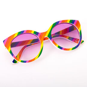 Rainbow Striped Rounded Mod Sunglasses,