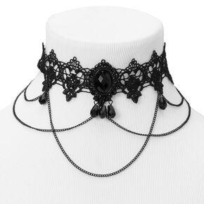 Ras-de-cou en dentelle perlé Halloween - Noir,