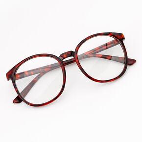 Tortoiseshell Round Clear Lens Frames - Red,