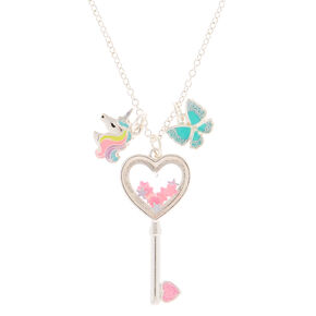 Holographic Key Charm Pendant Necklace,