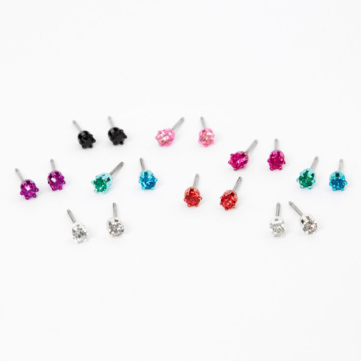 Rainbow 3MM Round Mixed Stud Earrings - 9 Pack,