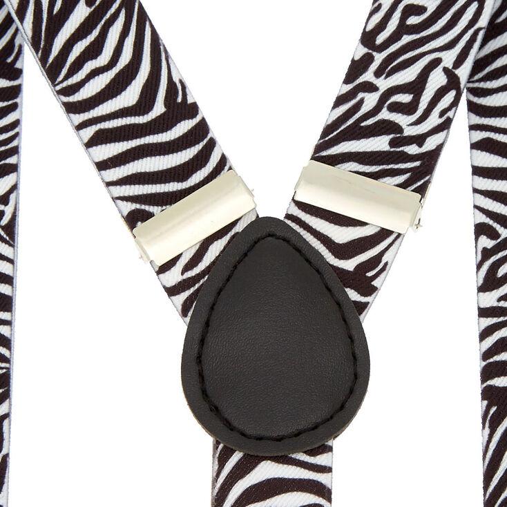 Bretelles blanches motif zèbre,