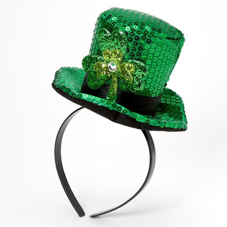 Serre-tête avec chapeau haut de forme trèfle pailleté - Vert,