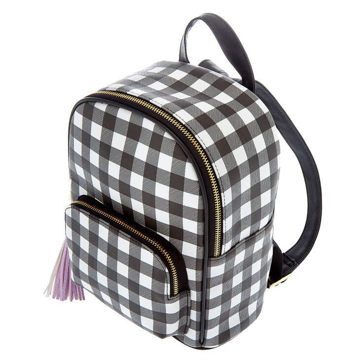 Gingham Print Small Backpack - Black,