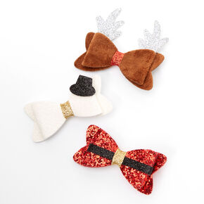 Holiday Themed Hair Bow Clips - 3 Pack,