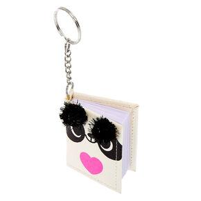 Glitter Panda Mini Diary Keychain - White,