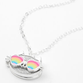 Silver Cam the Cat Locket Pendant Necklace,