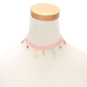 Claire's Club Fruit Tassel Tattoo Choker Necklace - Pink,