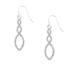 Silver Rhinestone Infinity Twist Drop Earrings