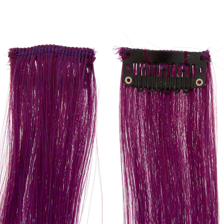 Ombre Faux Hair Clip In Extensions - Purple, 2 Pack,