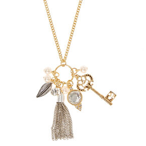 Go to Product: Gold Toned Tassel and Key Cluster Necklace from Claires