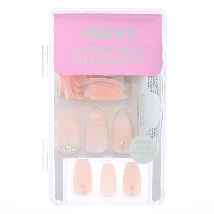 Marble Nude Bling Coffin Faux Nail Set - 24 Pack,