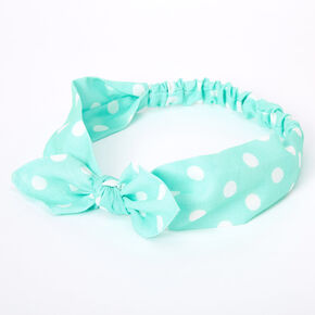 Polka Dot Knotted Bow Headwrap - Mint,