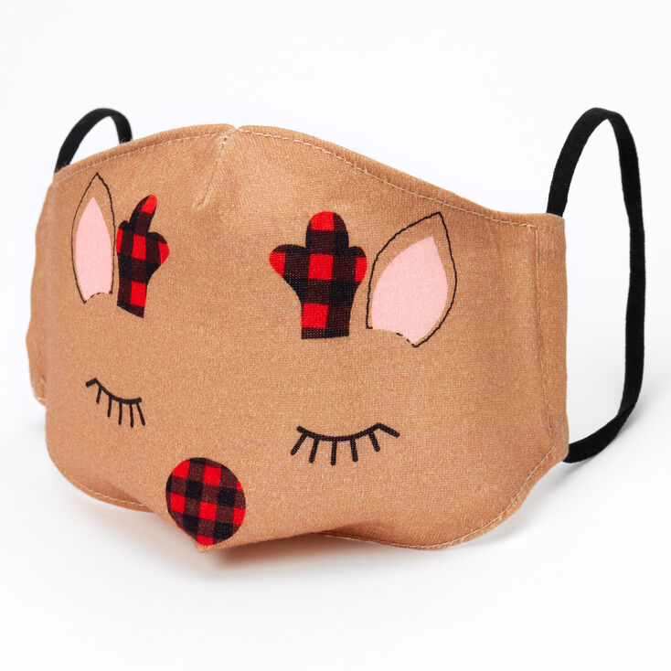Cotton Christmas Reindeer Face Masks - Child Medium/Large,
