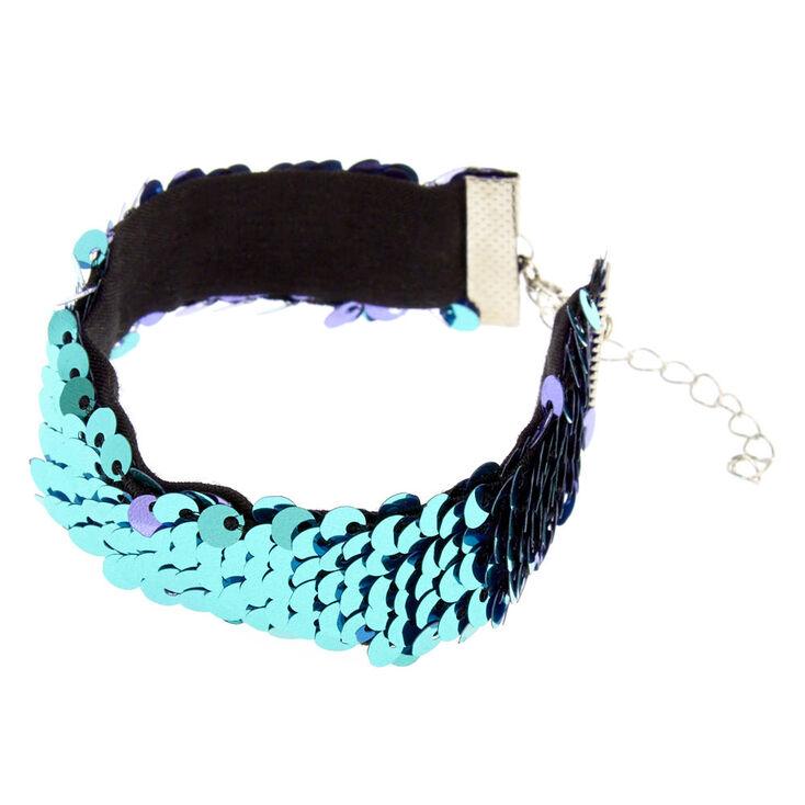 Bracelet à sequins réversibles couleur turquoise et lavande,