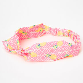 Pineapple Print Knotted Headwrap - Pink,