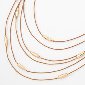 Collier multi-rangs style western avec perles d'imitation couleur dorée - Marron,