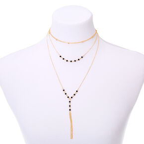 Gold Bead Multi Strand Necklace - Black,