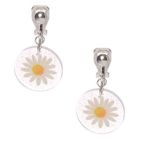 "Silver 1"" Glitter Pressed Daisy Clip On Drop Earrings,"