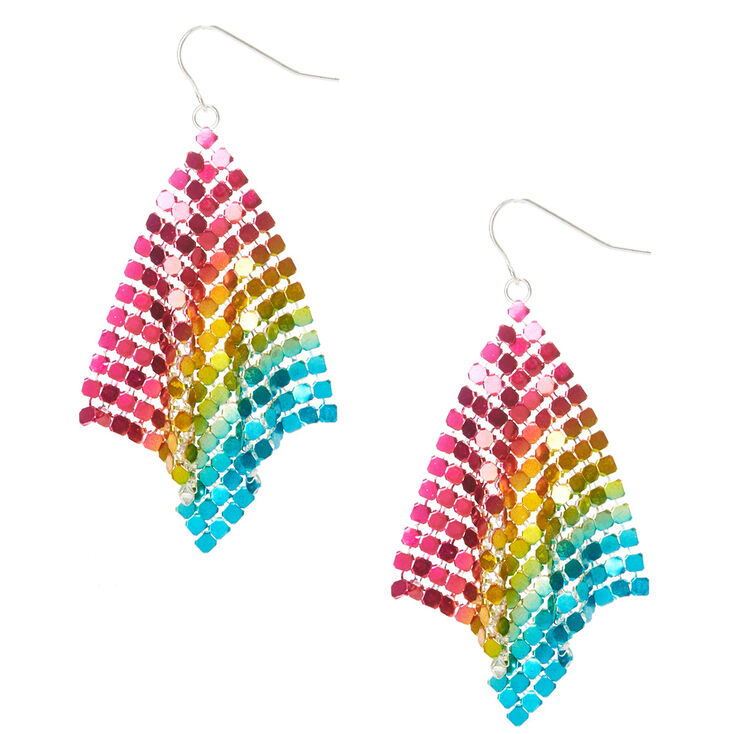 Rainbow Chainmail Drop Earrings,