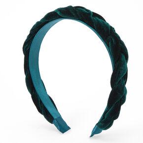 Braided Velvet Headband - Emerald Green,