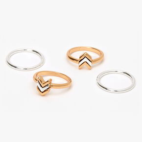 Mixed Metal Chevron Arrow Midi Rings - 4 Pack,