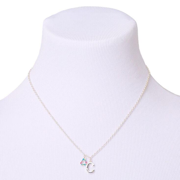 Coffret cadeau parure de bijoux à initiale C arc-en-ciel couleur argenté - Lot de 4,
