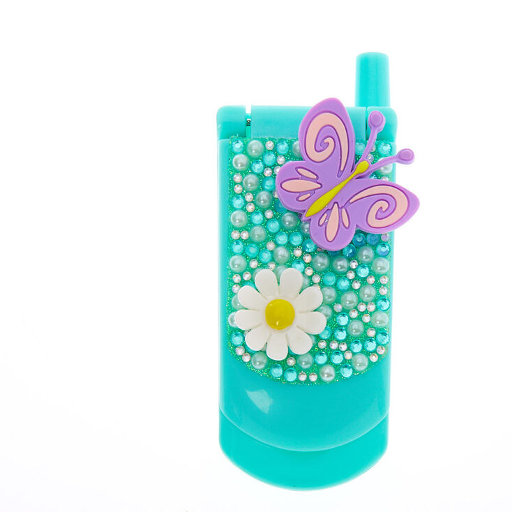 Claire's Club Daisy Butterfly Bling Flip Phone Lip Gloss Set - Mint,