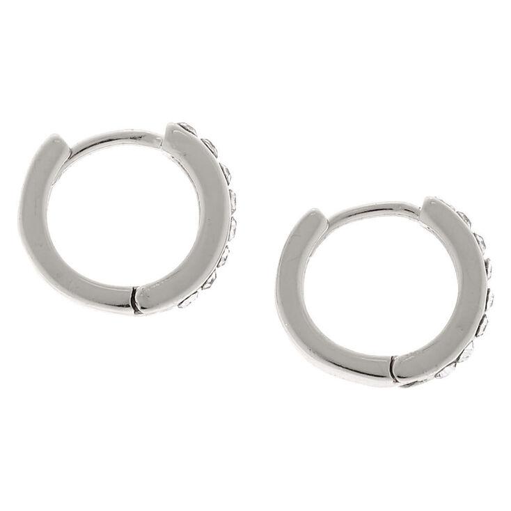 Silver 10MM Embellished Huggie Hoop Earrings,
