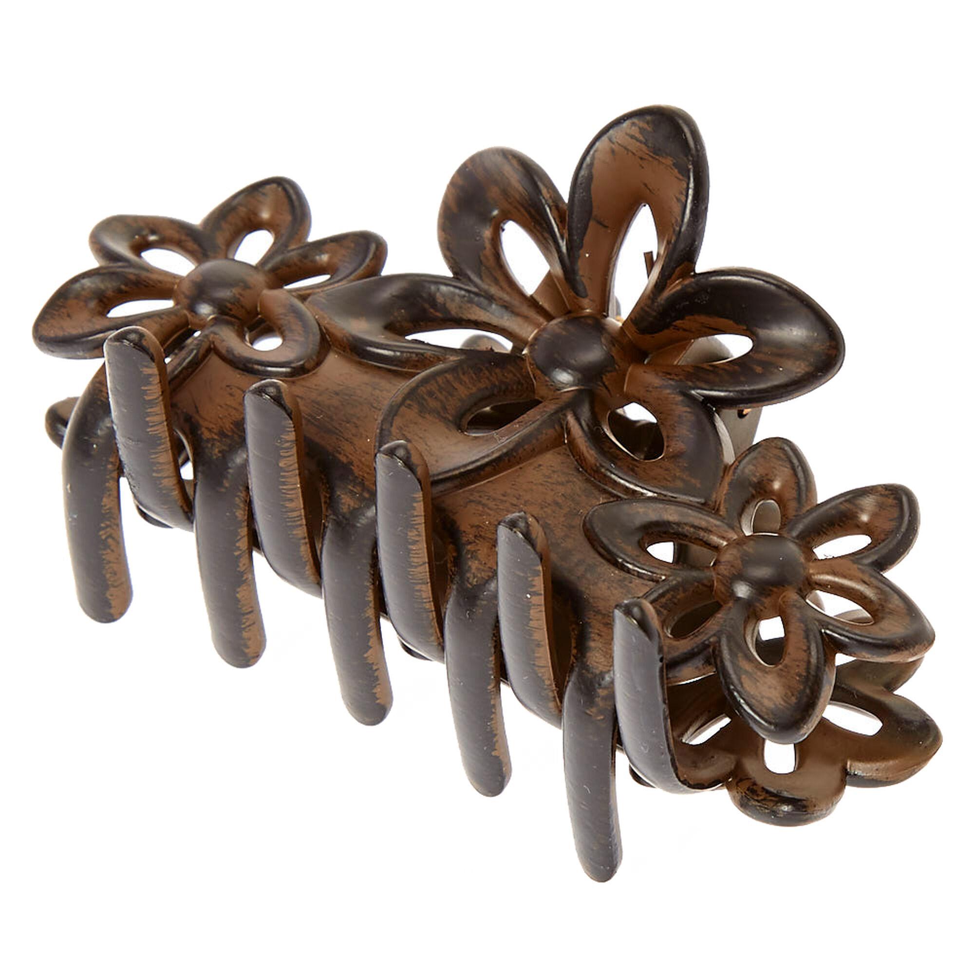 medium dark wood flower hair claw claire 39 s. Black Bedroom Furniture Sets. Home Design Ideas