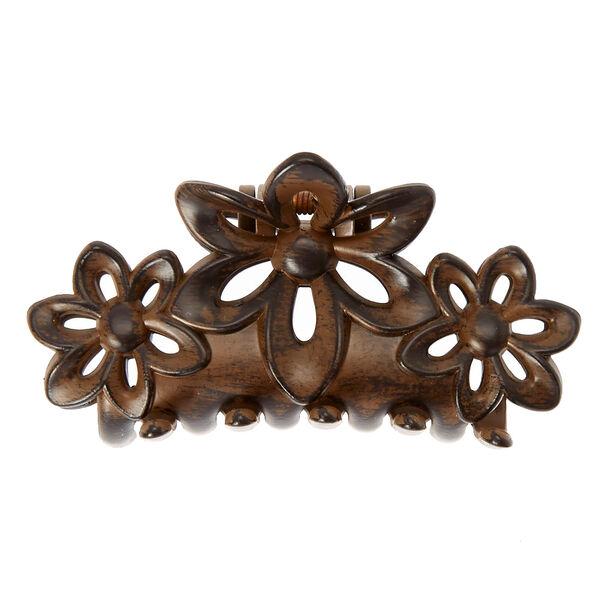 Claire's - medium dark wood flower hair claw - 2