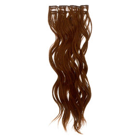 Wavy Faux Hair Clip In Extensions - Brown, 4 Pack,