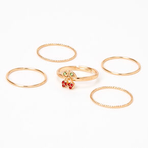 Gold Stackable Cherry Rings - 5 Pack,