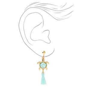 """Gold 1.5"""" Turtle Tassel Clip On Drop Earrings - Mint,"""