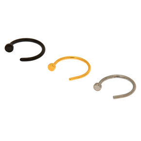 Mixed Metal 20G Open Nose Rings - 3 Pack,