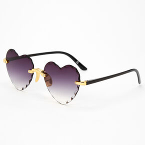 Black Heart Textured Rim Sunglasses,