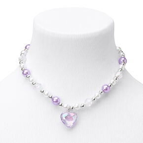 Claire's Club Lilac Pearl Heart Jewelry Set - 2 Pack,