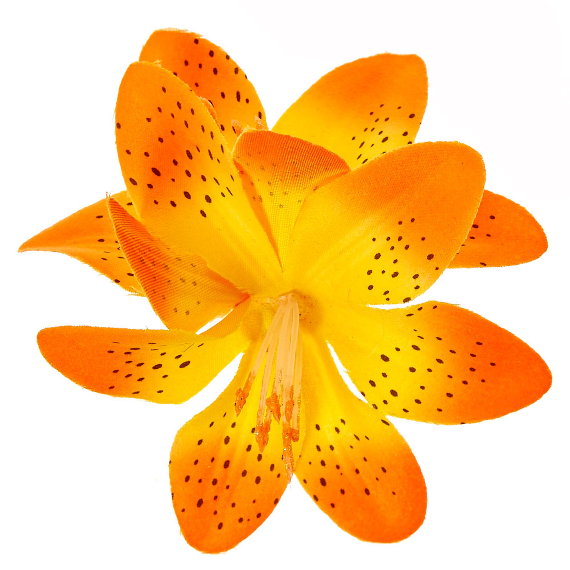 Spotted orange double lily flower hair clip claires us spotted orange double lily flower hair clip izmirmasajfo