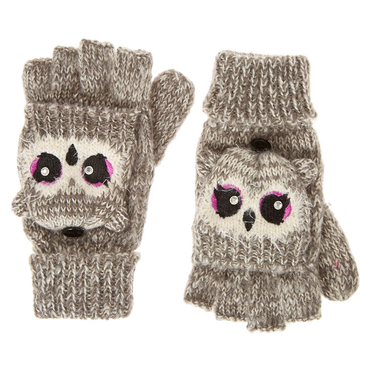 Owl Fingerless Gloves with Mitten Flap | Claire\'s