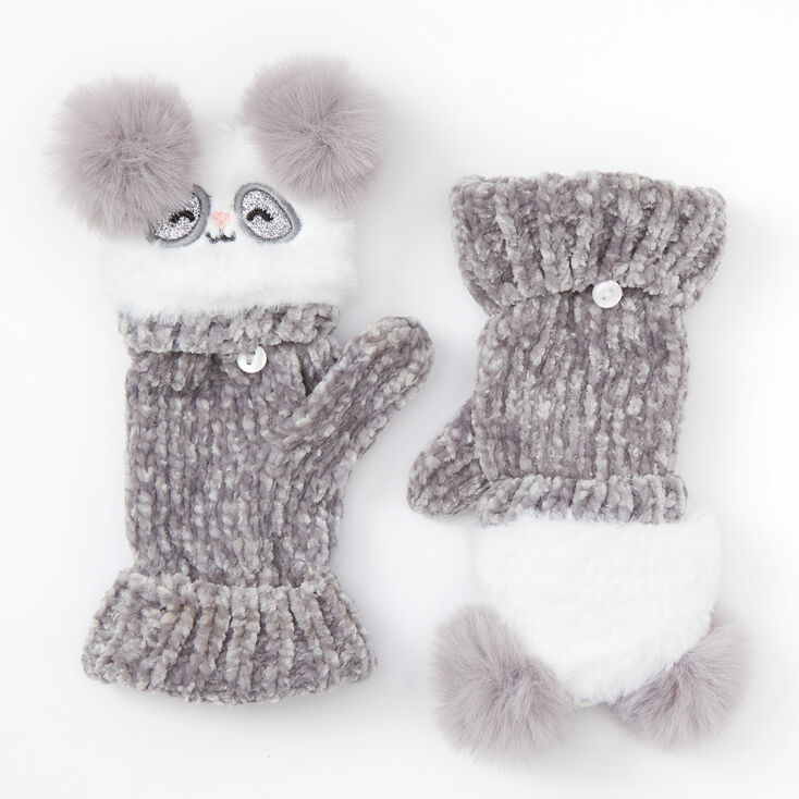 Claire's Club Panda Chenille Fingerless Gloves With Mitten Flap - Gray,