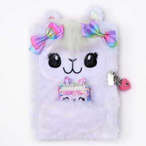 Llama Furry Lock Diary - White,