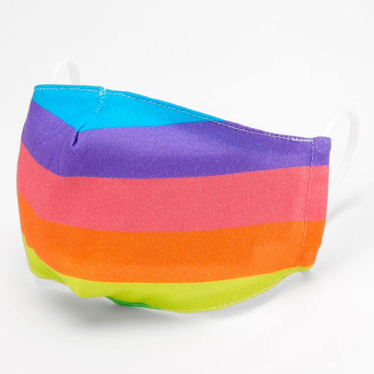 Rainbow Striped Cloth Face Mask - Adult,