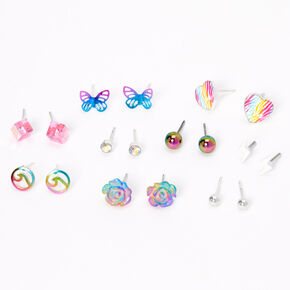 Silver Rainbow Ombre Mixed Stud Earrings - 9 Pack,