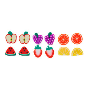 9 Pack Fruity Stud Earrings,
